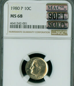 Click now to see the BUY IT NOW Price! 1980 P ROOSEVELT DIME NGC MS68 90FT PQ MAC SOLO FINEST SPOTLESS $30 000 IN FT