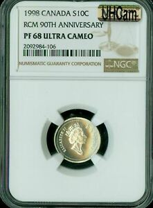 1998   1908 90TH ANNIVARSARY CANADA 10 CENTS NGC MAC PF 68 UHCAM SPOTLESS