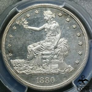1880 UNITED STATES PROOF TRADE DOLLAR 90  SILVER COIN PCGS PR64 CAM CHOICE