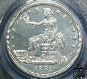 1881 UNITED STATES TRADE DOLLAR 90  SILVER COIN PCGS PR63 CAM CHOICE PROOF