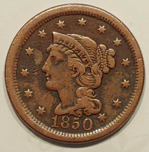 1850 BRAIDED HAIR LARGE CENT AVERAGE CIRCULATED CONDITION      C8762