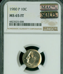 Click now to see the BUY IT NOW Price! 1980 P ROOSEVELT DIME NGC MS65 FT PQ ONLY KNOWN SOLO FINEST SPOTLESS