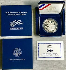 2010   BOY SCOUTS OF AMERICA CENTENNIAL   $1   SILVER   PROOF   MINT PACK & COA