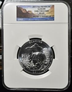2011 GLACIER AMERICA THE BEAUTIFUL 5 OZ SILVER   NGC MS69 EARLY RELEASES