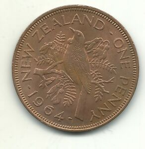 A HIGH GRADE AU/UNC 1964 NEW ZEALAND LARGE PENNY COIN MAR047