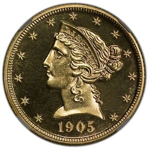 1905 $5 GOLD LIBERTY WITH MOTTO NGC PR65CAM