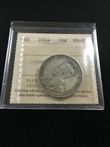 1914  ICCS GRADED CANADIAN SILVER 50 CENT   VG 10