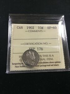 1902 ICCS GRADED CANADIAN  10  CENT   EF 40