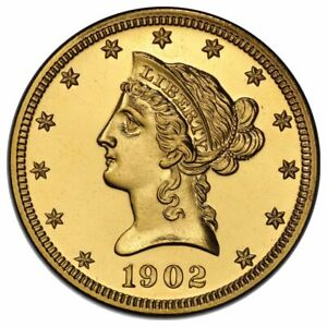 1902 $10 GOLD LIBERTY WITH MOTTO PCGS PR66   CAC