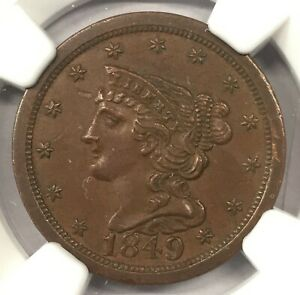 1849 LARGE DATE 1/2C   AU58 BN   NGC