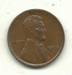 ABOUT UNCIRCULATED  AU  1928 D LINCOLN CENT LMINATION ERROR OLD US COIN JUL826