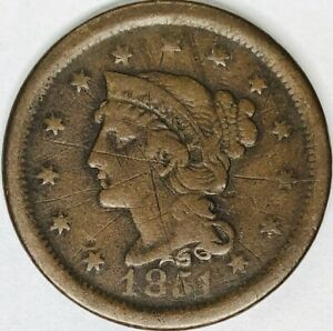1851 PHILADELPHIA MINT COPPER BRAIDED HAIR LARGE CENT
