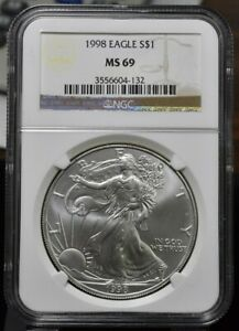 1998 AMERICAN SILVER EAGLE 1 OZ NGC MS69