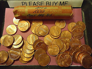 2006 P MOSTLY BU ROLL OF LINCOLN CENTS  > C/S & H AVAILABLE <