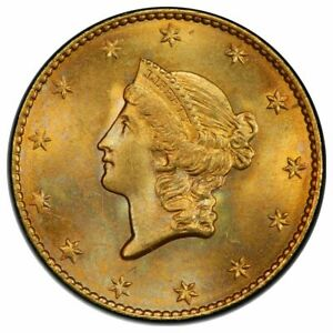 1849 $1 GOLD DOLLAR TYPE 1 OPEN WREATH PCGS MS66