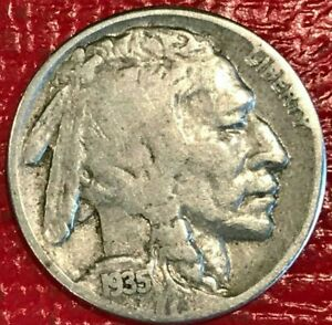 FINE CONDITION 1935 S BUFFALO NICKEL OLD US COIN AGT556