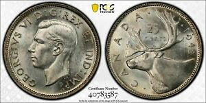 1942 CANADA 25 CENT PCGS MS63 LOTG472 SILVER  CHOICE UNC