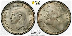 1941 CANADA 25 CENT PCGS MS64 LOTG473 SILVER  CHOICE UNC