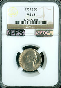 Click now to see the BUY IT NOW Price! 1953 S JEFFERSON NICKEL NGC MS65 4FS PQ MAC 2ND FINEST REGISTRY $20 000. IN FS