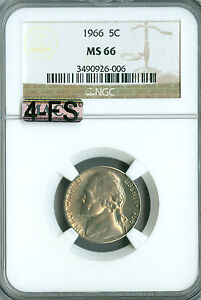 Click now to see the BUY IT NOW Price! 1966 JEFFERSON NICKEL NGC MS66 4FS MAC FINEST BUSINESS STRIKE  $15 000. FS