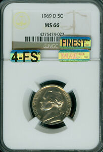 Click now to see the BUY IT NOW Price! 1969 D JEFFERSON NICKEL NGC MS66 4FS PQ MAC FINEST MAC SPOTLESS $20 000 IN FS