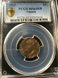 1923 PCGS GRADED CANADIAN  SMALL ONE  CENT   MS 63   25205614