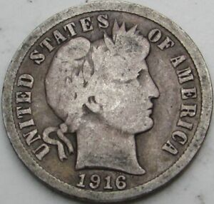 1916 BARBER SILVER DIME IN A SAFLIP   VG   GOOD