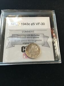 1943C   NEWFOUNDLAND COIN MART GRADED FIVE CENT 5   VF 30