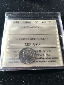 1898  ICCS GRADED CANADIAN  SMALL SILVER 5  CENT   AU 50