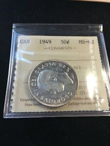 1949  ICCS GRADED CANADIAN 50 CENT   MS 62