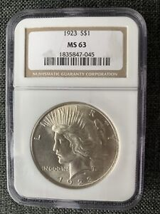 1923 PEACE DOLLAR SILVER $1 MS 63 NGC