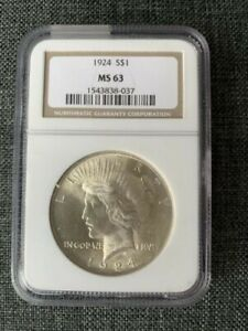 1924 PEACE DOLLAR SILVER $1 MS 63 NGC