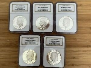 1971  1976 S SET OF EISENHOWER IKE SILVER DOLLARS NGC PROOF PF 68 ULTRA CAMEO