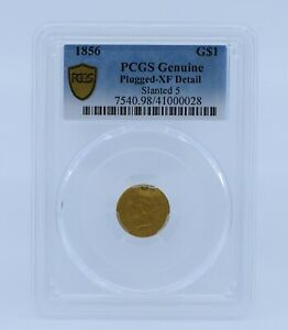 1856 $1 INDIAN PRINCESS GOLD COIN PCGS PLUGGED XF DETAIL