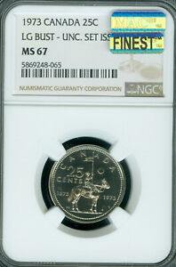Click now to see the BUY IT NOW Price! 1973 CANADA 25 CENTS LARGE BUST NGC MS67 PQ MAC FINEST GRADE MAC SPOTLESS