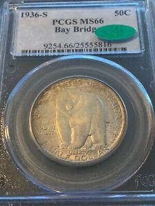 1936 S OAKLAND BAY BRIDGE PCGS MS 66 CAC SUPERB GEM COIN IN EVERY WAY
