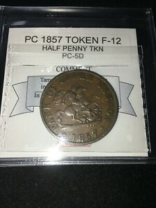 1857  PROVINCE OF CANADA TOKEN COIN MART GRADED  F 12   PC 5D  SEE DESC.