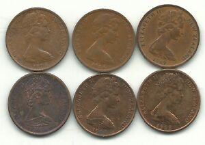 VERY NICE LOT 6 NEW ZEALAND 1 CENT COINS 1967 1974 1979 1980 1982 1984 APR111
