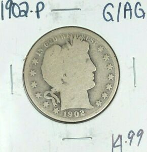 1902 P BARBER SILVER HALF DOLLAR   GOOD/AG   NICE COIN