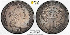 PCGS US 1800 $1 DRAPED BUST SILVER DOLLAR NICE TONED VF