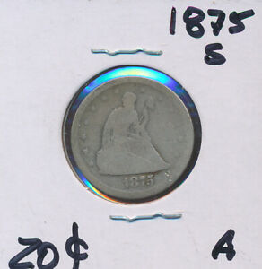 LIBERTY SEATED SILVER TWENTY CENTS 1875 S   A