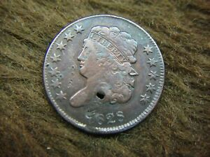 1828 UNITED STATES HALF CENT   LOADS OF DETAIL   HOLED