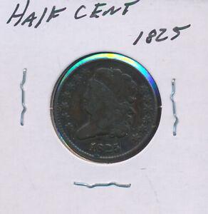 BUST HALF CENT 1825   NICE COIN BELOW BID