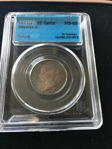 Click now to see the BUY IT NOW Price! 1871H  OBV.2  CCCS GRADED CANADIAN  25 CENT   MS 65