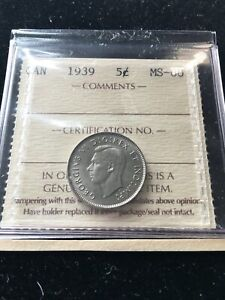 1939   ICCS GRADED CANADIAN  5 CENT   MS 60