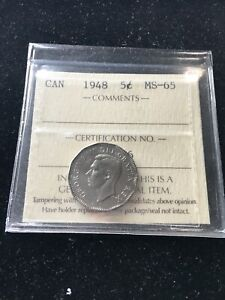 1948   ICCS GRADED CANADIAN  5 CENT   MS 65