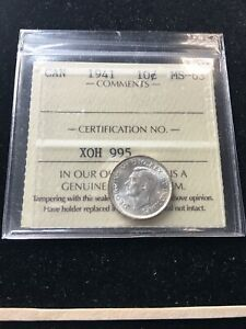 1941  ICCS  GRADED CANADIAN  10  CENT   MS 63
