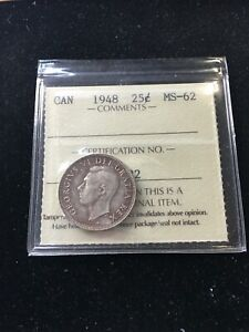 1948  ICCS GRADED CANADIAN 25 CENT   MS 62