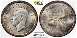 1940 CANADA 25 CENT PCGS MS62 LOTG829 SILVER  NICE UNC