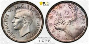 1942 CANADA 25 CENT PCGS MS62 LOTG831 SILVER  NICE UNC
